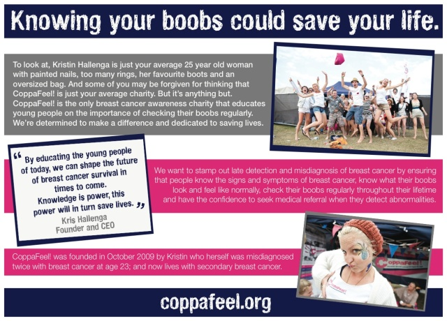 CoppaFeel Breast Cancer Awareness Flier