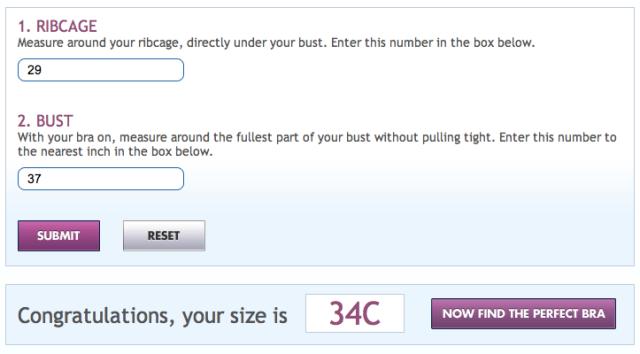 Playtex Bra Calculator = wrong