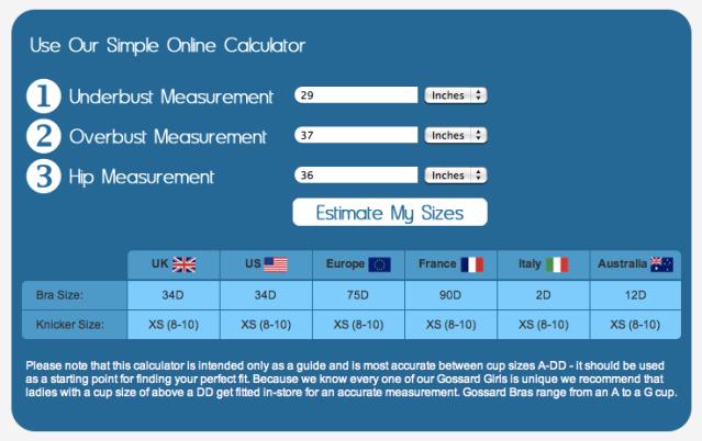 Gossard Bra Size Calculator