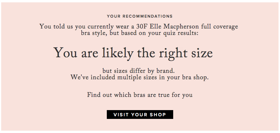 True&Co's algorithm to make finding your bra size easy. Oh no ...